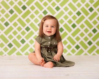 Green Geo- Vinyl Photography  Backdrop Photo Prop
