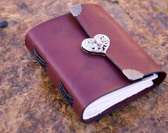 Leather Heart Journal - Notebook - Diary
