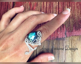 Blue Labradorite Ring Sterling Silver Wire Wrapped Adjustable Wrap Ring