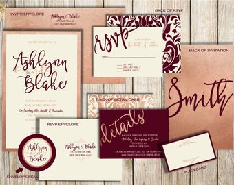 Blush And Burgundy Invitation Suite, Burgundy Wedding Invitations, Blush  And Burgundy, Wedding Invitation