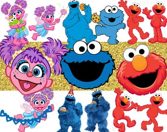 ABBY Cadabby, COOKIE Monster & ELMO High Resolution Clipart - 19 images, transparent pngs and resizeable - Instant Download - Sesame Street