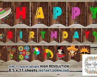 FIESTA Birthday Banner, Digital Printable Banner, FIESTA Birthday Party, Customized Printable Banner, Guitar, Pinata, Cactus, Maracas, Hat