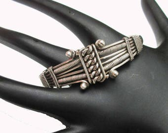 Sterling  Cuff Bracelet - Silver Twisted knotted Studded  - Tribal India  - Bangle