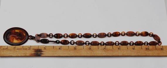 Tortoise Celluloid Cameo Chain Necklac- Brown Plastic link - Women profile pendant