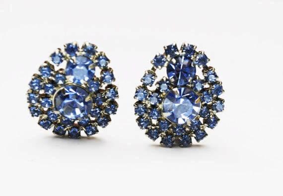 Blue Rhinestone earrings - Signed Garne - Mid Century  - Clip on earring -Tear drop - Bride Wedding Prom
