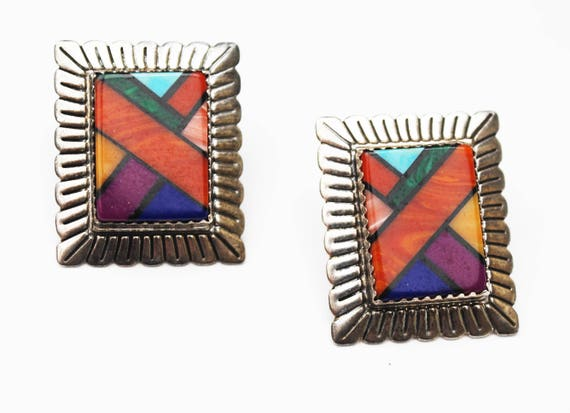 Sterling Zuni Earrings - Signed QT - Coral Turquoise  Gemstone inlay -  southwestern -Rectangle pierced earrings