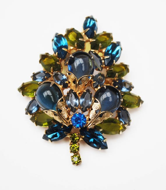 Large Rhinestone  Brooch - Blue and Green Crystal - Flower Leaf - gold filigree -  Tree pin