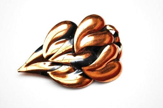 Large Copper Leaf  Brooch - Swirl leaves - Modernistic  mid century Mod pin