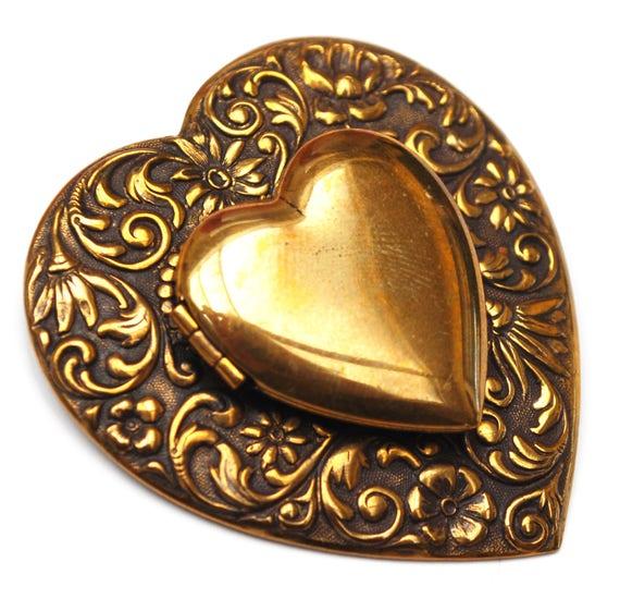 Heart Locket Brooch - Repousse Gold Brass metal - Art Nouveau - Floral Bow - pin