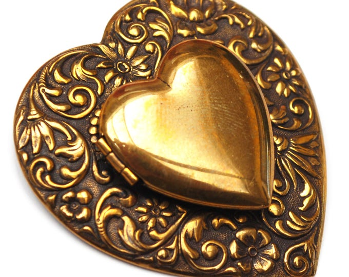 Heart Locket Brooch - Repousse Gold Brass metal - Art Nouveau - Floral Bow - pin
