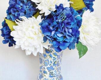 Silk Flower Arrangement, Dark Blue Hydrangea, White Dahlias, Baum Bros. Paisley Vase, Artificial Flower Arrangement, Silk Floral Arrangement