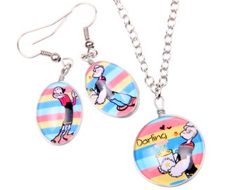 Set Necklace Earrings  Popeye and oliver Double sided cabochon (1318B)