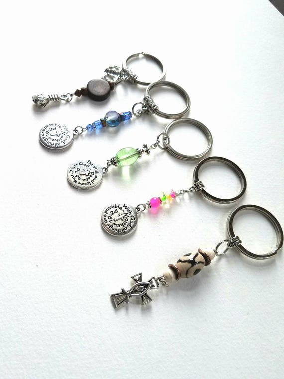 Christian Keychain Zipper Charms Bible verse gift Religious stocking stuffer Christian teacher gift Religious Christian Gift
