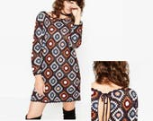 Dress backless knee length Plus size crochet pattern midi granny square beginner Trendy plus size Sexy women dresses holiday long sleeve
