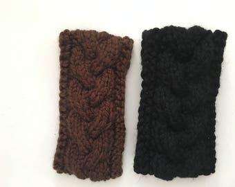 Cable knitted Winter headband with button closure women teen girl headband wool acrylic blend headband ear warmer select color