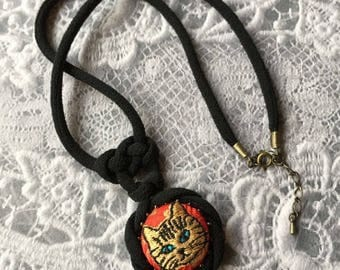 Japanese Chirimen cord knot necklace / fabric cord jewelry -Embroidery Brown Tabby Cat/