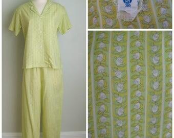 Vintage 1960's Lightweight Cotton Pajamas// Yellow Rose// Lime Sherbet// Size Medium// Schrank