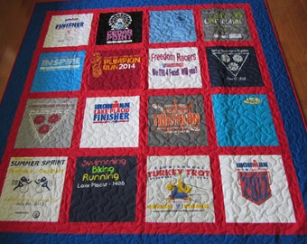 DEPOSIT ONLY-Custom Made T-shirt Quilt-Great Guy or Dad Gift for Christmas or Birthday