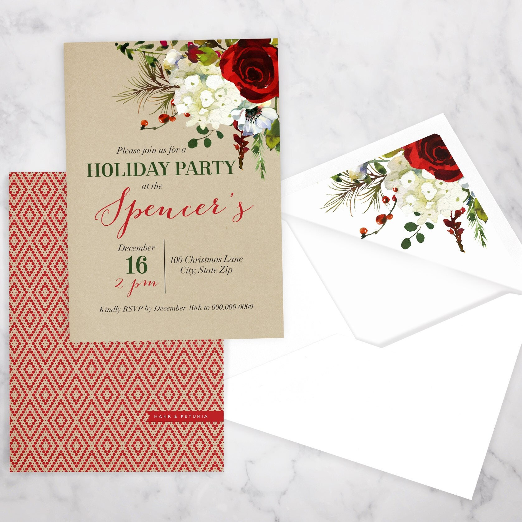 Elegant Winter Watercolor Holiday Party Invitation, Christmas ...