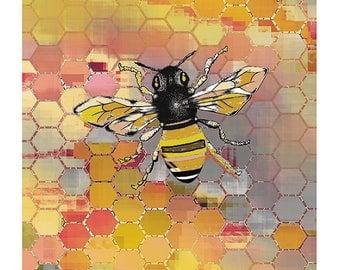 Bee Art Print / Honey Bee Decor / Nursery Decor / Colorful Honeycomb Print / Bee Poster/ Geometric Art 8X10 inches