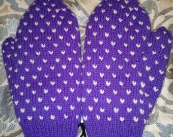 Purple Thrummed Mittens