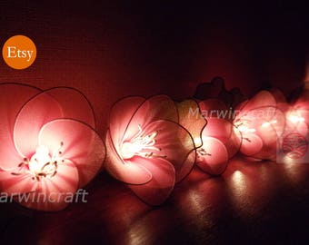 Battery or Plug 20 LightPink Rain Lilly Nylon Flower Fairy String Lights Party Patio Wedding Garland Gift Home Living Bedroom Holiday Decor