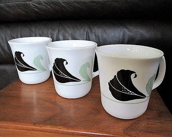 Corelle Black Orchids  Corning Ware  Mugs Set of 3 included Circa 1990s Corelle  Mint condition Black orchid  China Galore
