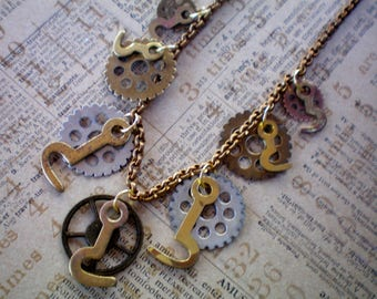 Gears and hooks necklace, Recycled jewelry, Handmade jewelry, Repurposed jewelry, Upcycled jewelry, Free USA shipping. Made in USA/Michigan