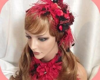 burlesque fascinator or hat saint Valentine's day or valentine's day
