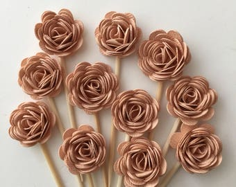 24 Pcs 3D PEACH ROSETTES Cupcake Toppers - Birthday Party, Cupcake Toppers, Bridal Shower, Wedding