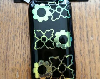 Dichroic Flowers Fused Glass Pendant