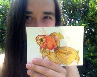 Watercolour art goldfish drawing postcard goldfish illustration