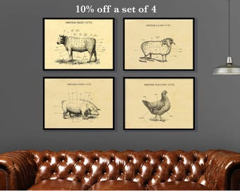 butcher Cuts etching style prints. Set of 4. Cow Lamb Chicken Pig Print ideal for home kitchen restaurant perfect gift for a foodie