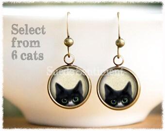 Peeking Cat Earrings • Cat Jewelry • Cat Lover Gift • Cat Gifts • Cat Remembrance • Black Cat • Siamese Cat