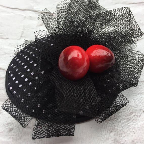 Cherry Black and White Polka Dot Fascinator Rockabilly Pinup Inspired