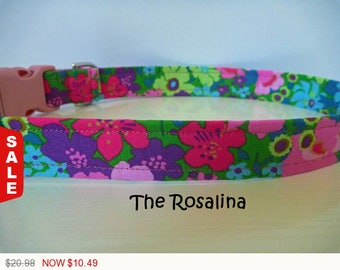 """Sale - 50% Off Floral Dog Collar - Multi-Floral-Pink, Purple, Green Purple Floral - """"Rosalina"""" - Free Colo"""