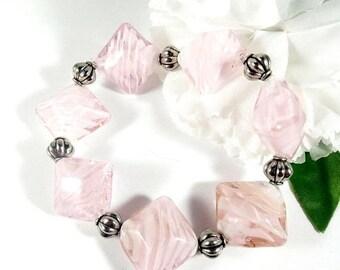 Pink Bracelet w Silver Accents, Chunky Bracelet, Lampwork Bracelet, Art Deco Bracelet, Boho Chic Bohemian Bracelet, Trending Womens Jewelry