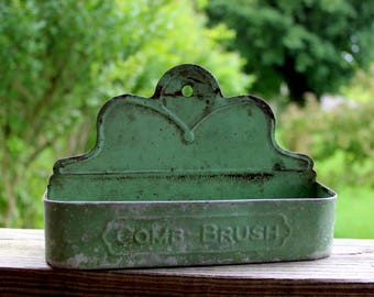 vintage Comb-Brush tin enameled green 8 x 5 x 2 inches wall mounted 1930's enameled tinware