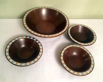 Fred Roberts Bowls/Wood Salad Set/Tile Rim Wood Bowls/Large Bowl with 3 Salad Bowls/Mid Century Serveware/Ceramic Tile Trim/Made in Japan