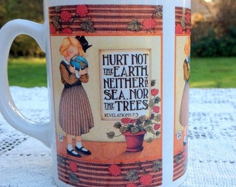 17% OFF SALE Mary Engelbreit Coffee Mug / Tea Mug / Quote: Hurt Not The Earth Neither The Sea Nor The Trees / Mary Englebreit Cup /  Checker