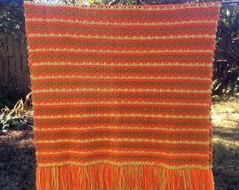 17% OFF SALE Crocheted Afghan/Orange Brown Yellow/Shell Stitch Throw/Handmade Vintage Afghan/Fall Colors Throw/72 x 52 Blanket/ Orange Strip