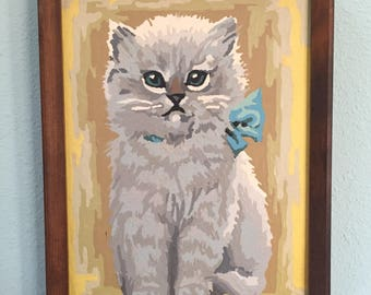 Mid century Paint-by-Number cat, Persian kitten, wood frame, cottage chic wall art decor