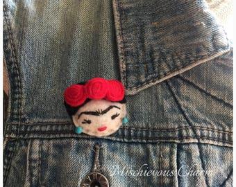 Felt Frida Kahlo Brooch Pin