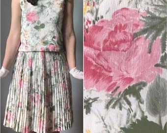 Vintage 60s Handmade Silk Blouse + Skirt Separates