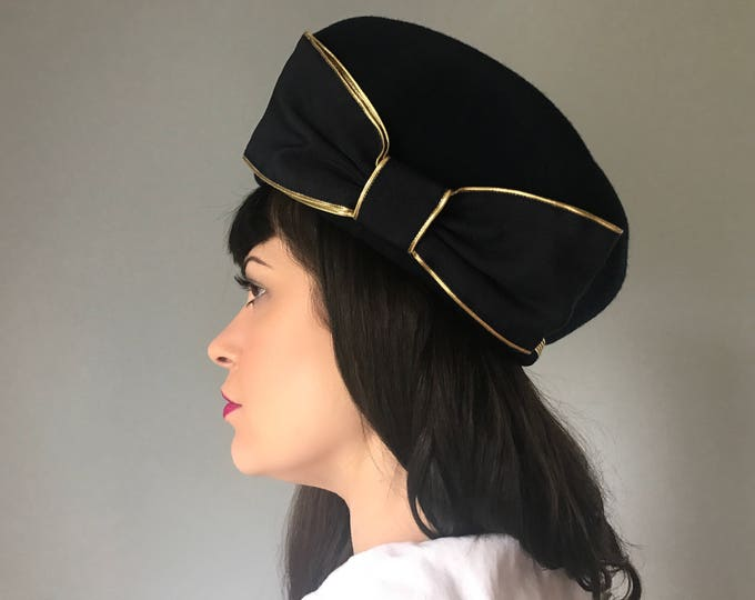 Vintage 40s Navy Bow Hat