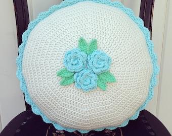 "pretty aqua roses crocheted cushion cover-14"""