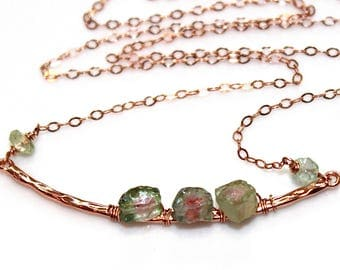 Watermelon Tourmaline Slice Necklace Rose Gold Necklace Bar Necklace Tourmaline Necklace Tourmaline Jewelry Delicate Necklace