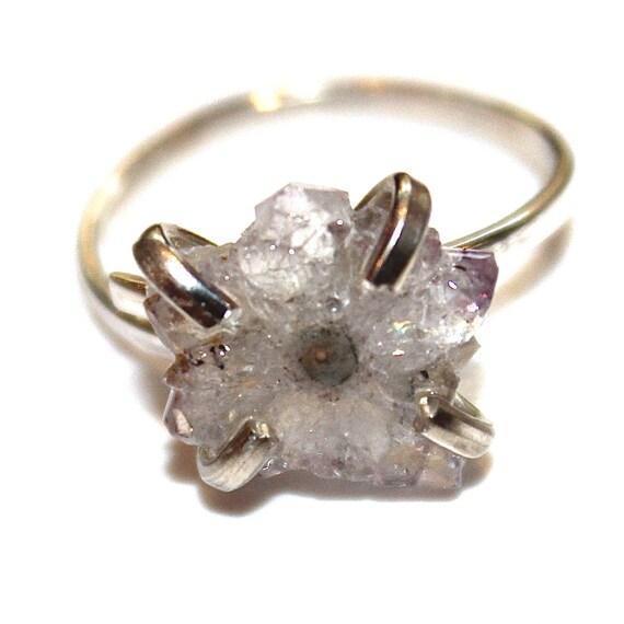 Tiny White Stalactite Ring in Silver