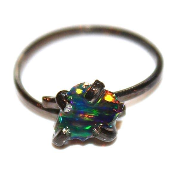 Small Raw Black Opal Ring
