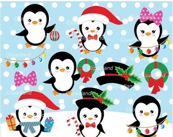 ON SALE INSTANT Download. Christmas penguin clip art. Cp_4. Personal and commercial use.